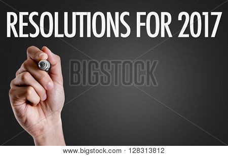 Hand writing the text: Resolution for 2017