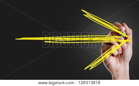 Hand writing a arrow