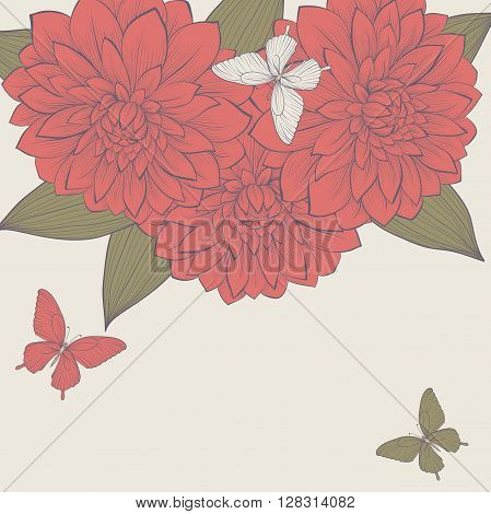 beautiful background with frame of dahlia flowers and butterflies. Hand-drawn contour lines and strokes. Perfect for background greeting cards and invitations