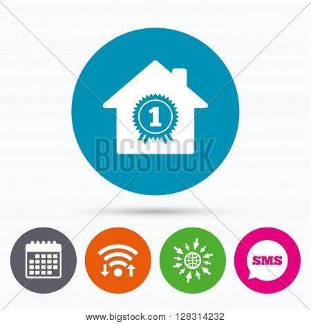 Wifi, Sms and calendar icons. Best home. First place award icon. Prize for winner symbol. Go to web globe.