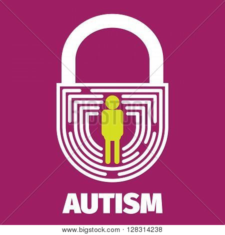 Vector Brain maze symbolizes autism psychology psychiatry