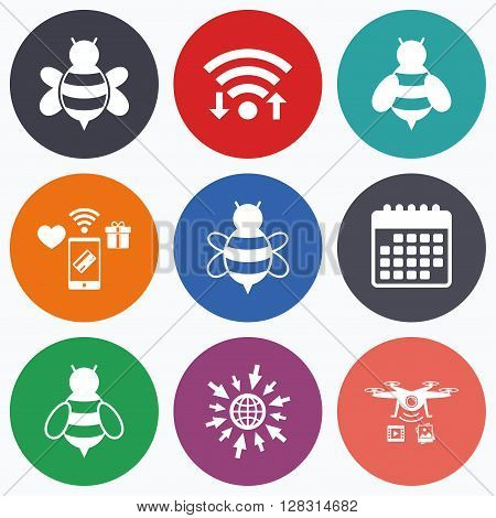 Wifi, mobile payments and drones icons. Honey bees icons. Bumblebees symbols. Flying insects with sting signs. Calendar symbol.