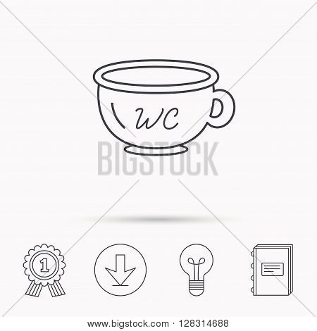 Baby wc pot icon. Child toilet sign. Washroom or lavatory symbol. Download arrow, lamp, learn book and award medal icons.