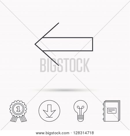 Back arrow icon. Previous sign. Left direction symbol. Download arrow, lamp, learn book and award medal icons.