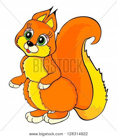 beauty squirrel cartoon- vector illustraton with isolation on a white background