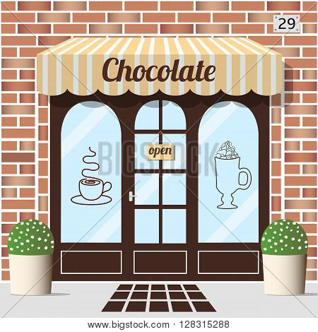 Chocolate shop building. Facade of brick. Chocolate sign sticker on window. Vector illustration EPS10