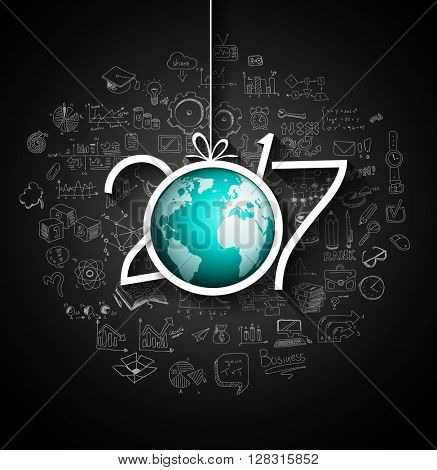 2017 New Year Infographic and Business Plan Background for your Flyers and Greetings Card with Hand Crawn Business and infographic sketches.