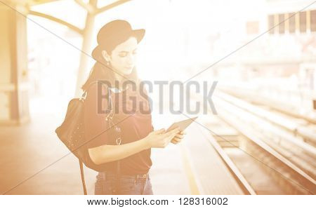Woman Digital Tablet Trip Transportation Traveling Concept