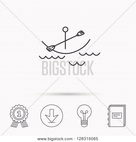 Kayaking on waves icon. Boating or rafting sign. Canoeing extreme sport symbol. Download arrow, lamp, learn book and award medal icons.