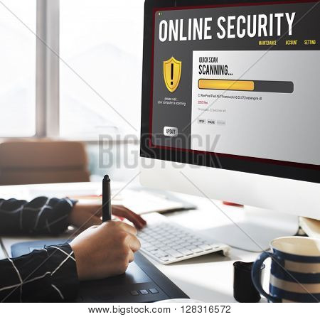 Online Security Protection Hacking Virus Concept