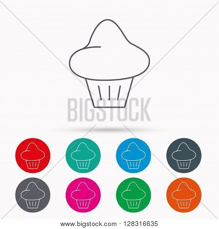 Brioche icon. Bread bun sign. Bakery symbol. Linear icons in circles on white background.