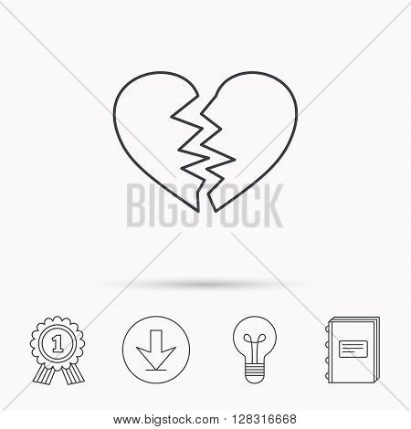 Broken heart icon. Divorce sign. End of love symbol. Download arrow, lamp, learn book and award medal icons.