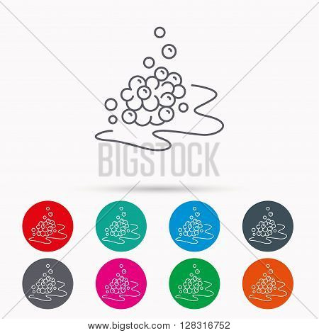 Bubbles icon. Foam for bathing sign. Washing or shampoo symbol. Linear icons in circles on white background.