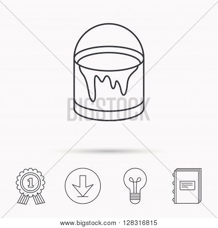Bucket of paint icon. Painting box sign. Download arrow, lamp, learn book and award medal icons.