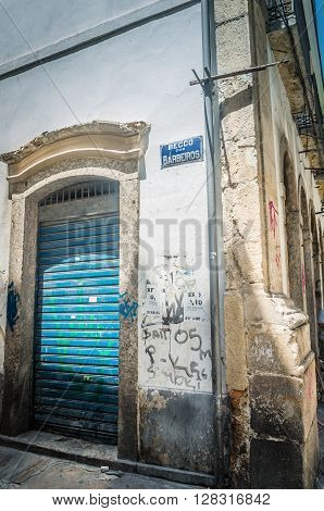 Rio De Janeiro, Brasil - March 06, 2016:  Architerual Details Building Streets Of Downtown At Beco D