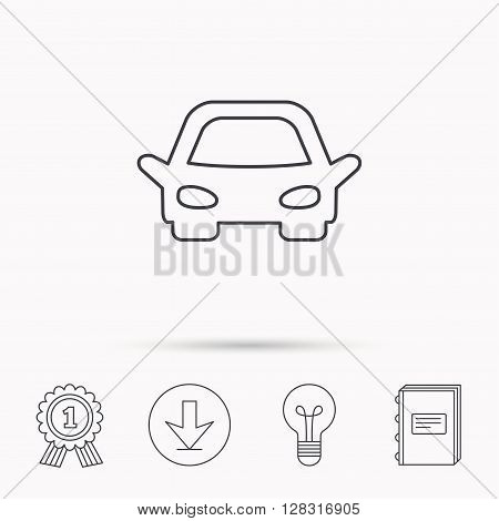 Car icon. Auto transport sign. Download arrow, lamp, learn book and award medal icons.