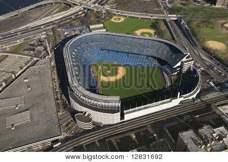 Aerial view of Yankee baseball Stadium in the Bronx, New York City.