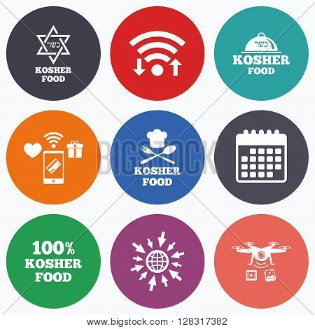 Wifi, mobile payments and drones icons. Kosher food product icons. Chef hat with fork and spoon sign. Star of David. Natural food symbols. Calendar symbol.