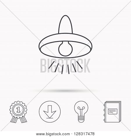 Ceiling lamp icon. Light illumination sign. Download arrow, lamp, learn book and award medal icons.