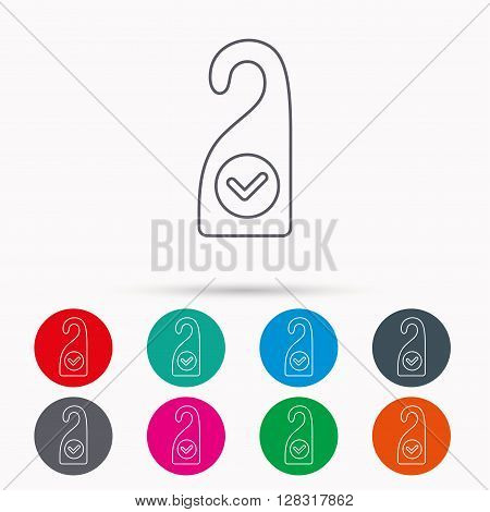 Clean room icon. Hotel door hanger sign. Maid service symbol. Linear icons in circles on white background.