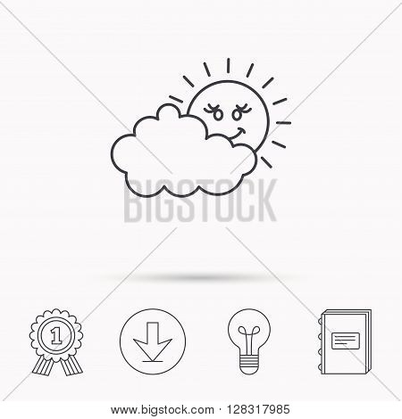 Cloudy day with sun icon. Overcast weather sign. Meteorology symbol. Download arrow, lamp, learn book and award medal icons.