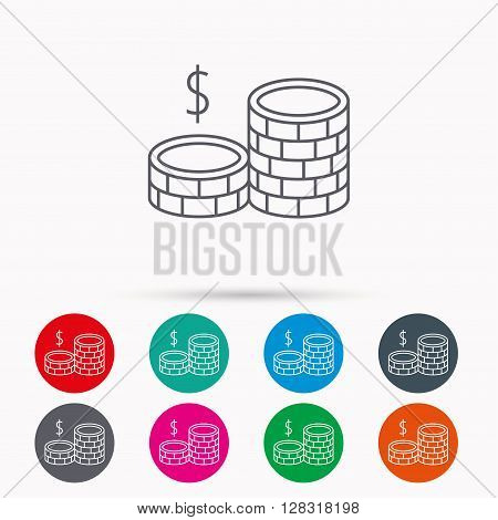 Dollar coins icon. Cash money sign. Bank finance symbol. Linear icons in circles on white background.