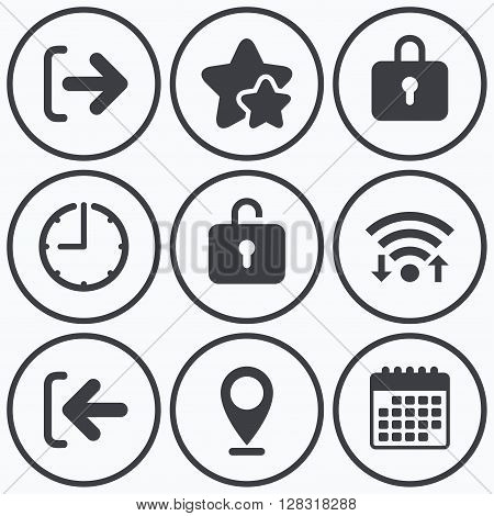 Clock, wifi and stars icons. Login and Logout icons. Sign in or Sign out symbols. Lock icon. Calendar symbol.