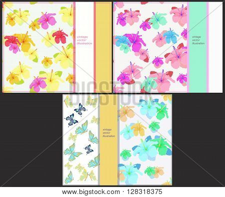 set the pattern for horizontal cards with butterflies and hibiscus vector illustration