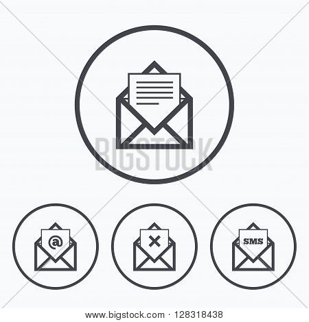 Mail envelope icons. Message document symbols. Post office letter signs. Delete mail and SMS message. Icons in circles.