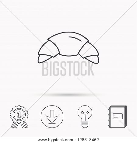 Croissant icon. Bread bun sign. Traditional french bakery symbol. Download arrow, lamp, learn book and award medal icons.