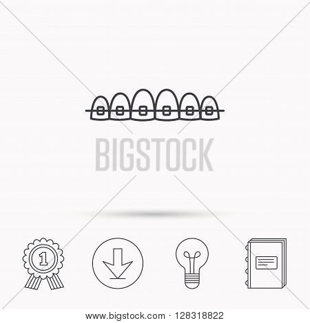 Dental braces icon. Teeth healthcare sign. Orthodontic symbol. Download arrow, lamp, learn book and award medal icons.