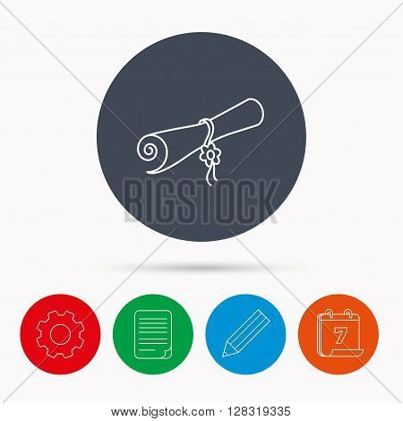 Diploma icon. Graduation document sign. Scroll symbol. Calendar, cogwheel, document file and pencil icons.