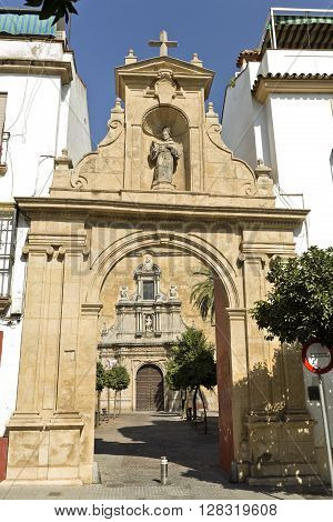 CORDOBA, SPAIN - September 11, 2015: Entrance arch to the Compas of San Francisco in Cordoba on September 11, 2015 in Cordoba, Spain