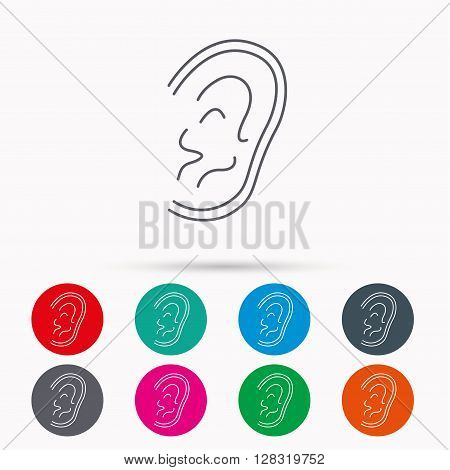 Ear icon. Hear or listen sign. Deaf human symbol. Linear icons in circles on white background.
