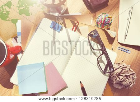 Designer's Desk with Architectural Tools and Notebook Concept