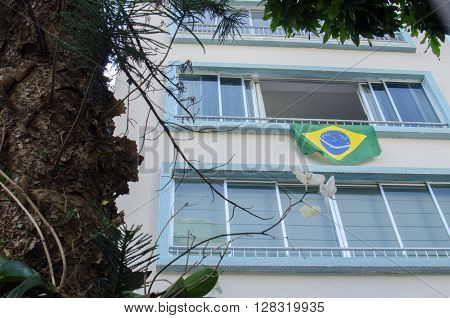 Rio De Janeiro, Brazil - March 06, 2016: Demonstration In Building In The Botafogo Neighborhood.