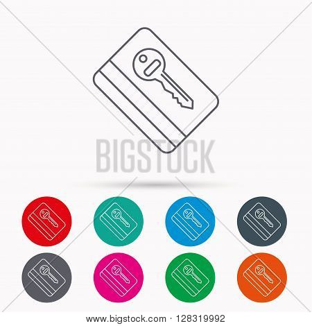 Electronic key icon. Hotel room card sign. Unlock chip symbol. Linear icons in circles on white background.