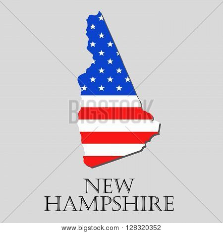 Map of the State of New Hampshire and American flag illustration. America Flag map - vector illustration.