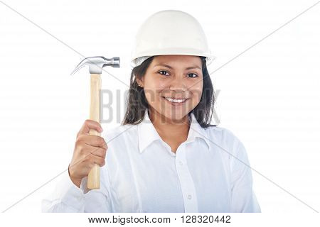 Smiling Latino Girl With Hammer