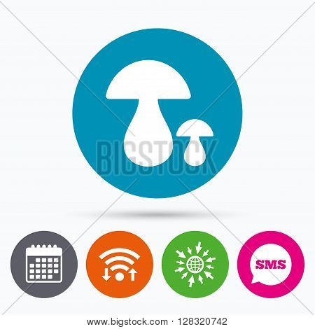 Wifi, Sms and calendar icons. Mushroom sign icon. Boletus mushroom symbol. Go to web globe.