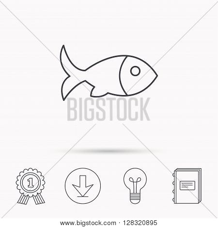 Fish with fin icon. Seafood sign. Vegetarian food symbol. Download arrow, lamp, learn book and award medal icons.