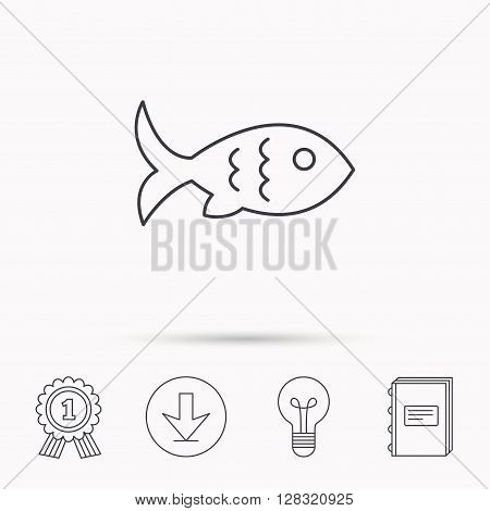 Fish with fin and scales icon. Seafood sign. Vegetarian food symbol. Download arrow, lamp, learn book and award medal icons.