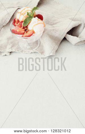 Delicious ice cream with strawberries