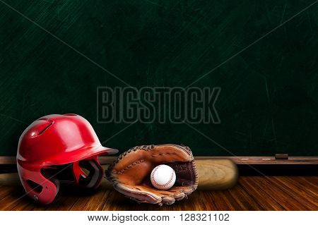 Baseball Equipment and Chalk Board with Copy Space
