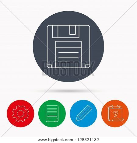 Floppy disk icon. Retro data storage sign. Calendar, cogwheel, document file and pencil icons.