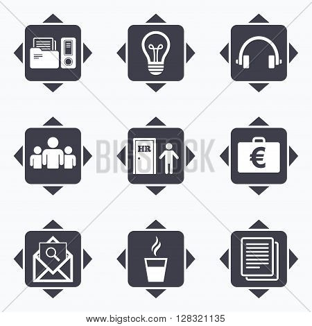 Icons with direction arrows. Office, documents and business icons. Accounting, human resources and group signs. Mail, ideas and money case symbols. Square buttons.