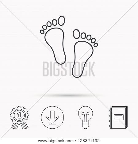 Baby footprints icon. Child feet sign. Newborn steps symbol. Download arrow, lamp, learn book and award medal icons.