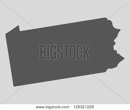 Black map of the State of Pennsylvania - vector illustration. Simple flat map State of Pennsylvania.