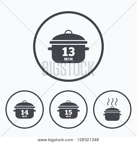 Cooking pan icons. Boil 13, 14 and 15 minutes signs. Stew food symbol. Icons in circles.