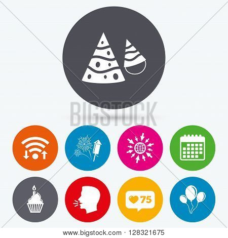 Wifi, like counter and calendar icons. Birthday party icons. Cake, balloon, hat and muffin signs. Fireworks with rocket symbol. Cupcake with candle. Human talk, go to web.